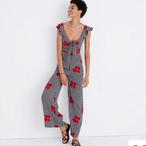NWT Madewell plumeria flower stripped jumpsuit 6